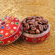 Coffe seeds in jewelry box — Stock Photo