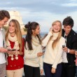 Teens with mobile or cell phones — Stock Photo