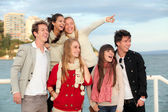 Group happy surprised teens — Foto Stock