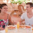 Eating english breakfast — Stockfoto