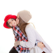 Friendship or sisters kiss — Stock Photo