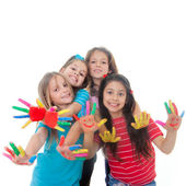 Children paint fun — Foto Stock