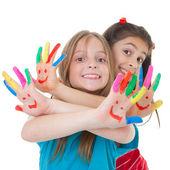 Dzieci bawiące się z farbą — Zdjęcie stockowe