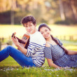 Summer romance with guitar - Stockfoto