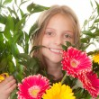 Kid with boquet of flowers — Photo
