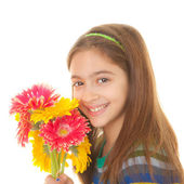 Child with bunch of flowers — Stock Photo