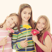 Group of happy smiling little girls — Stock Photo