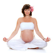 Pregnant yoga woman, — Foto de Stock