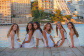 Beautiful teens in white clothes — Stock Photo