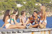 Beach party teens — Stock Photo