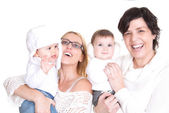 Happy families mums and kids — Stock Photo