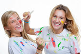 Messy teens painting — Foto Stock
