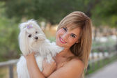 Love of dogs woman with pet — Stock Photo