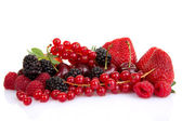 Pile of red summer fruits or berries — Stock Photo