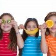 Kids with healthy diet of fruit. — Stock Photo #47466765