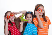 Children eating healthy food — Stock Photo
