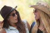 Friendship two girls chatting having fun — Stock Photo