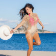 Happy woman on summer holiday or vacation — Stock Photo