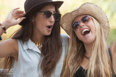 Girls laughing having fun in summer — Stock Photo