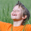 Happy smiling child arms outstretched eyes closed enjoying the summer sun — Stock Photo #6950216