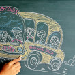 School bus drawing on chalkboard — Stock Photo #12363255