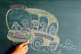 School bus drawing on the chalkboard — Stock Photo