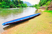 Wooden boat in Laos — Stock Photo