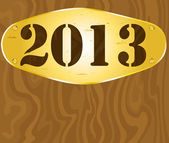 2013 on golden plate — Stock Vector