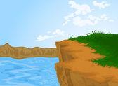 Hill en rivier — Stockvector