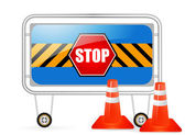 Traffic barrier stop sign — Stock Vector
