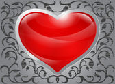 Glossy red heart with pattern — Stock Vector