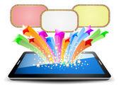 Kleurrijke selectiekader op tablet pc — Stockvector
