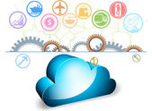 Blue cloud computing — Vettoriale Stock