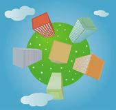 Planeta com casas — Vetorial Stock