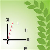 Hours on a green background — Stock Vector