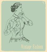 Vintage moda — Stok Vektör