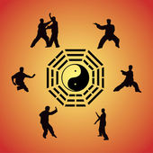 Set of images of people of engaged Kung fu — Stock Vector