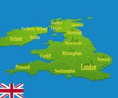 Ulusal bayrak ile orijinal england haritası — Stok Vektör
