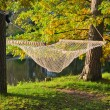 A hammock near the pond in autumn Park — Foto de Stock   #13564303