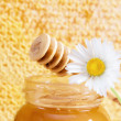 Jar of honey on the background of honeycombs — Стоковая фотография