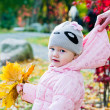 Stock Photo: Grandmother with grand daughter in autumn park