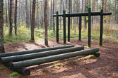 Exercise equipment of logs in a forest park — Stock Photo