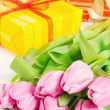Pink tulips and gift box, it is isolated on white — Stock Photo #14439587