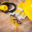 Safety gear kit close up — Foto Stock
