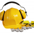 Safety gear kit close up over white — Stock Photo #14723739