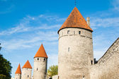 Towers of a fortification of Old Tallinn — Stok fotoğraf