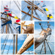 Ancient sailing vessel collage.Yachting concept — Stock Photo