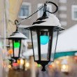 Multicolored lights decorating Christmas market — Stock fotografie #18007661