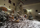 Christmas Decor. Posted by snow sleds. — Stock Photo