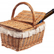 Stock Photo: Picnic basket with bottle of wine, isolated on white